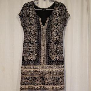 Lucky brand  Cream and black printed dress